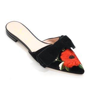Kate Spade Rose Embroidered Velvet Slip On Flats